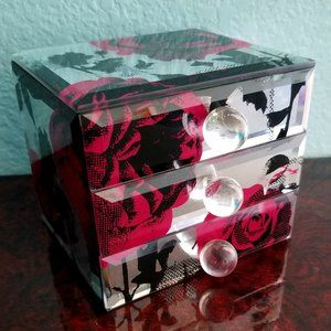 Small Mirrored 3-Drawer Jewelry Box with Roses